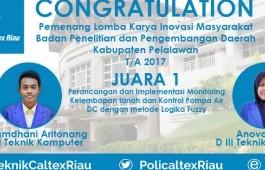 Mahasiswa PCR Raih Juara Lomba Karya Inovasi Balitbangda Pelalawan