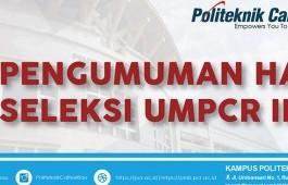 PENGUMUMAN UMPCR II 2018