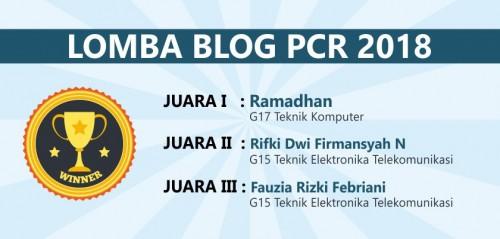 Pemenang Lomba Blog PCR 2018