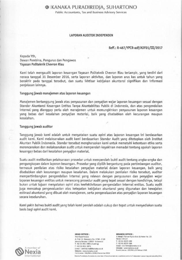 Pcr Laporan Keuangan Yayasan Pcr Per 31 Desember 2016